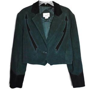 VTG Dark Green Suede Cropped Western Jacket L
